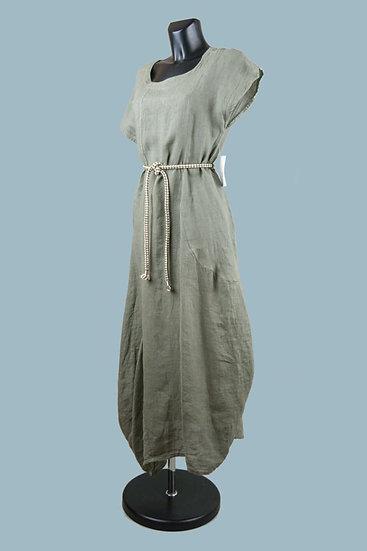 Льняное платье хаки в стиле бохо с ассиметричным низом. Размер: 48-50. Италия