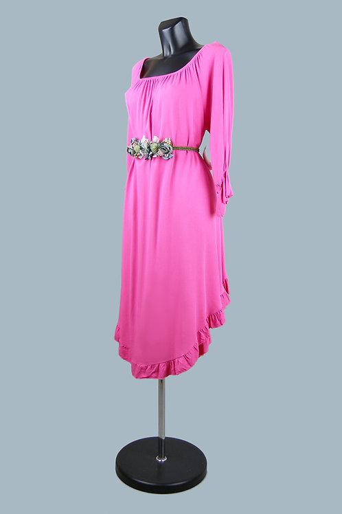 Платье миди  фуксия
