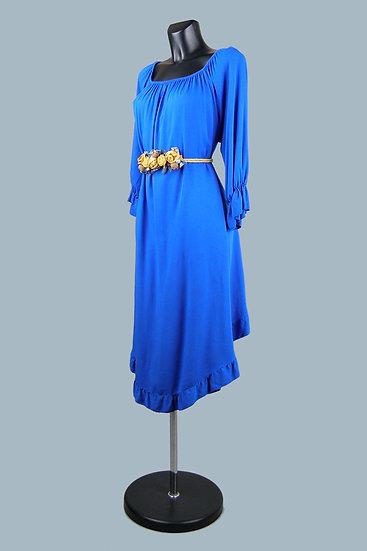 Синее платье с ассиметричным низом 23050510