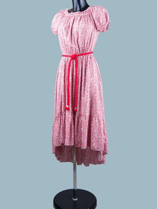 Платье в мелкий цветочек красное