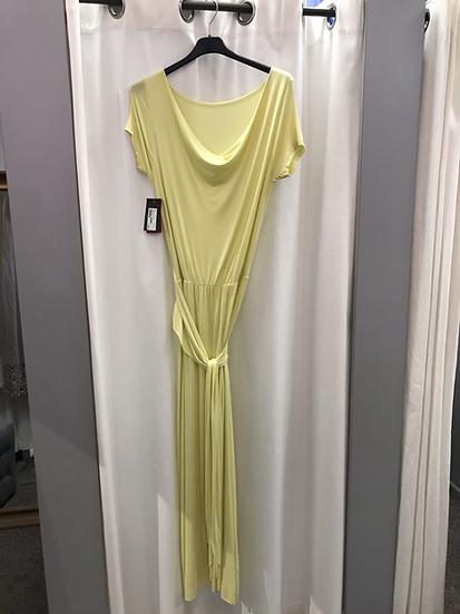 Платье длинное качели  жёлтое 9725