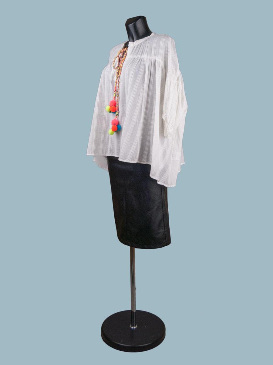 Свободная хлопковая блузка белая