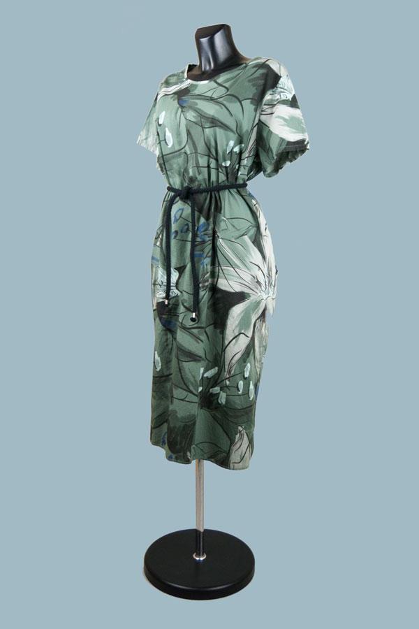 Платье летнее свободное хаки с рисунком