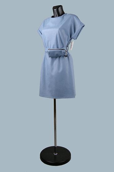 Кожаное голубое платье- купить в магазине Chichi  Королев Гелиос