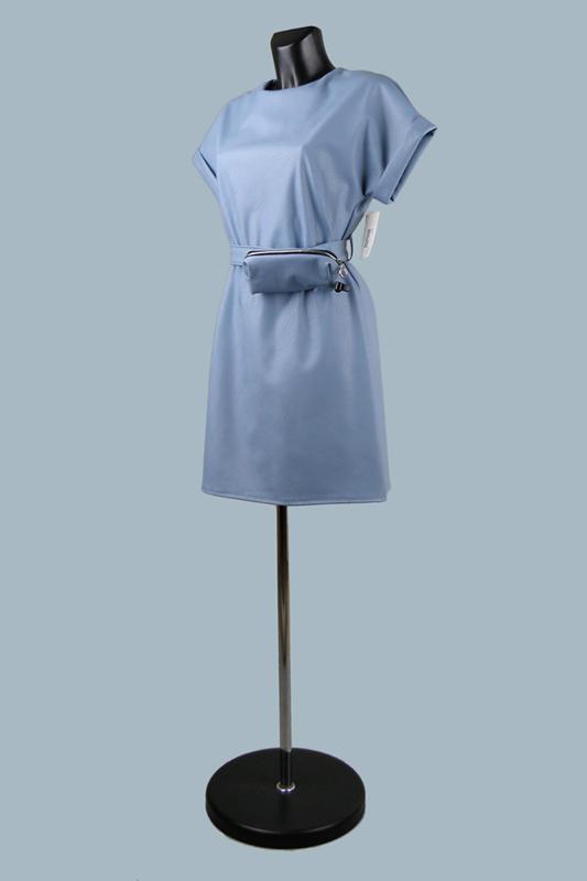 Платье  кожаное голубое 25070610