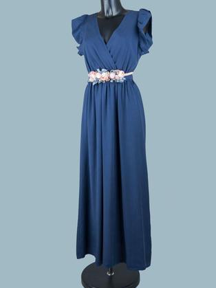 Длинное платье летнее с запахом синее