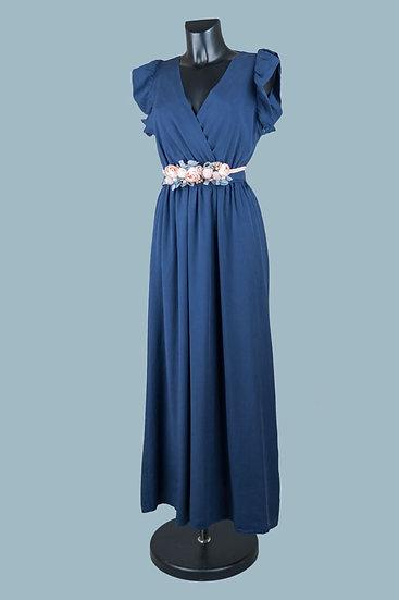 Летнее длинное нарядное платье с вырезом запах синее. Размер: 42-50. Италия. 100% лиоцелл