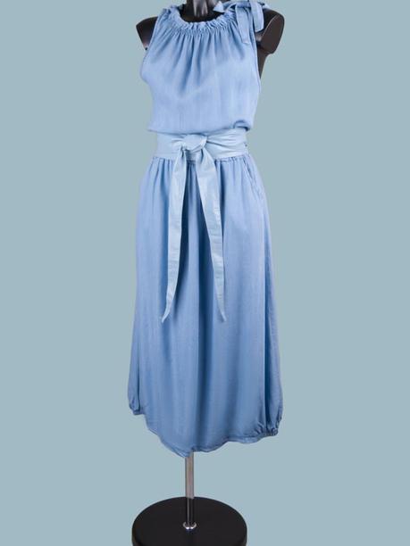 Платье макси светло- джинсовое 2047