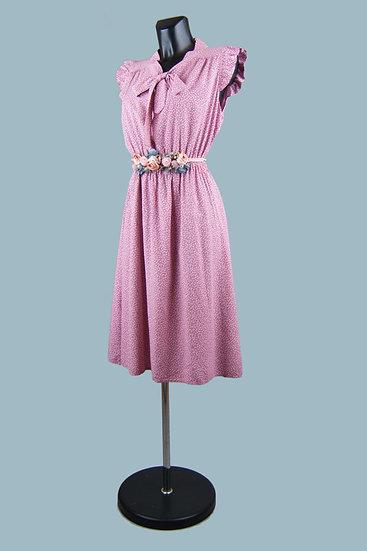 Летнее платье с бантомв горошек малиновое. Италия. Вискоза. Размер: 42-48
