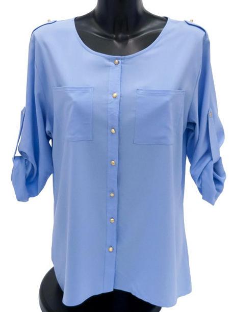 Блузка женская  удлиненная голубая 144806
