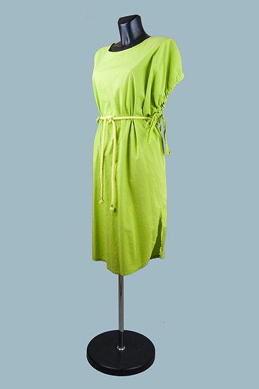 Салатовое платье миди. Италия. Хлопок. Размер: 48-50