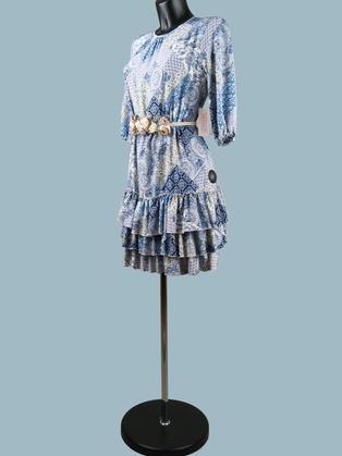 Нарядное платье  с оборками 2191