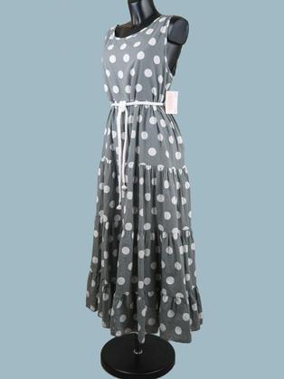 Платье летнее длинное в крупный  горох серое