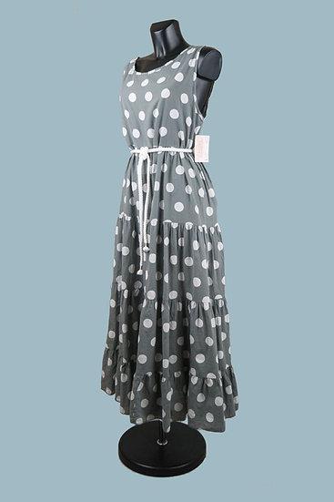 Свободное платья А- силуэт серое. Крупный горох. Италия.Размер: 50-54. Хлопок