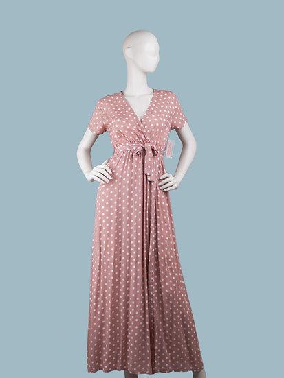 Розовое платье в горошек длинное с запахом