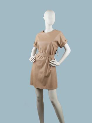 Платье  кожаное бежевое 25074010