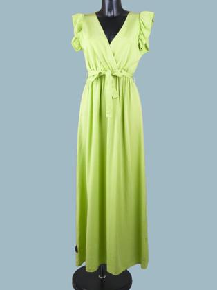 Длинное платье летнее с запахом салатовое