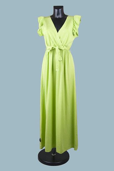 Летнее длинное нарядное платье с вырезом- запах салатовое. Размер: 42-50. Италия. 100% лиоцелл