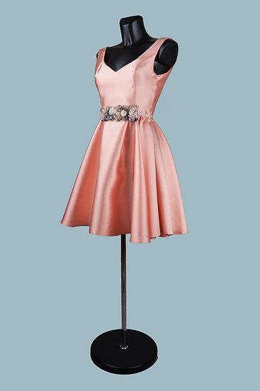 Нарядное платье персиковоес пышной юбкой. Для свадьбы, выпускного. Польша. Размер:42-46