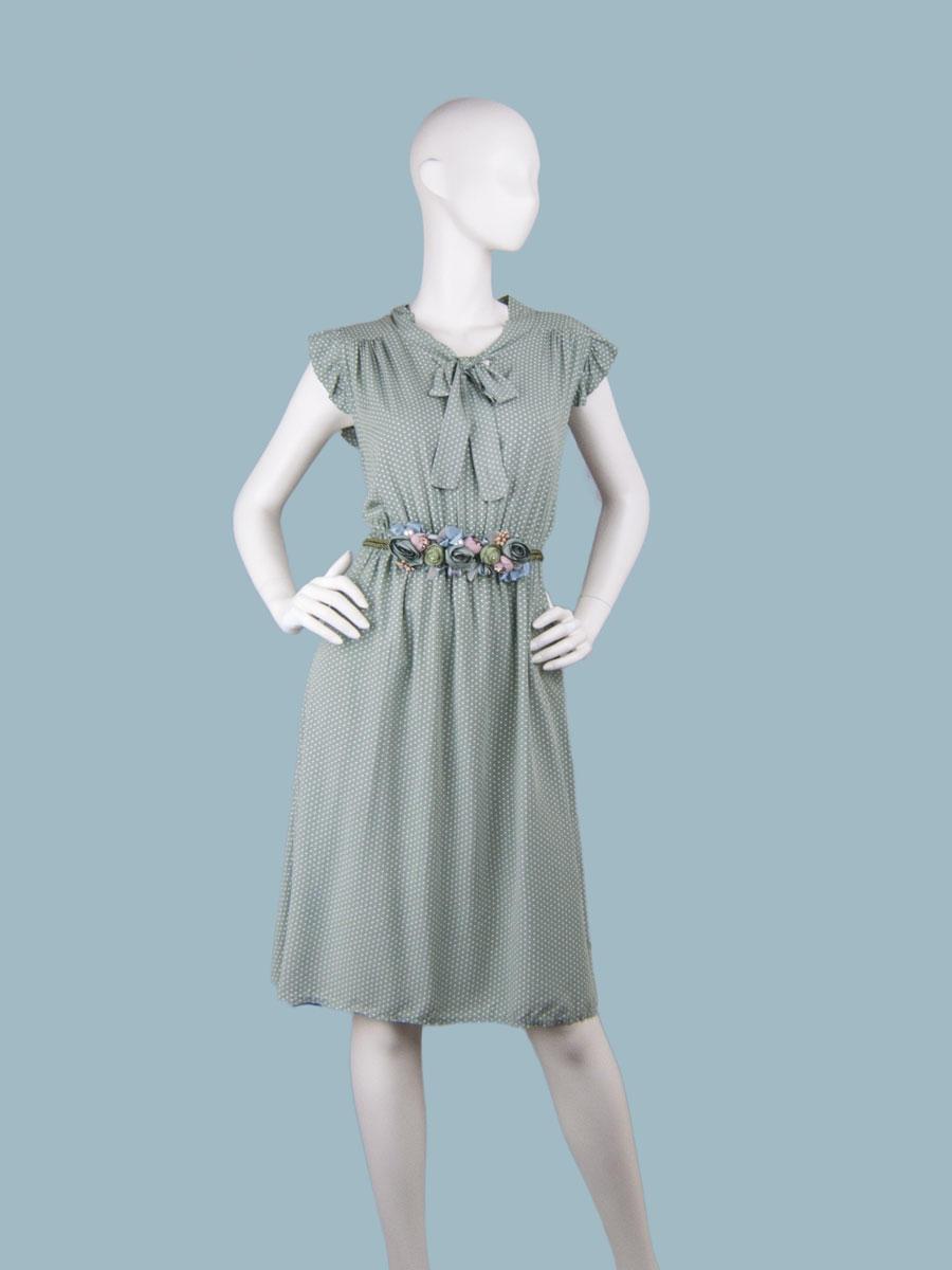 Платье с бантом в горошек хаки