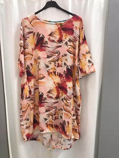 Платье льняное с рисунком розовое