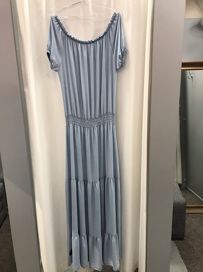 Платье длинное с воланами голубое 2226