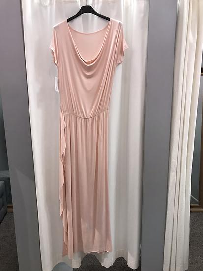 Платье длинное качели с широким поясом 9725