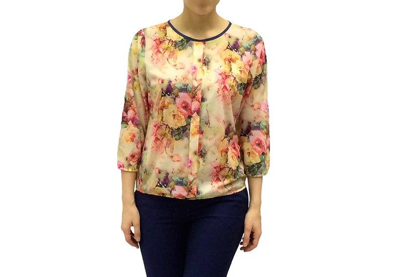 Нарядная блузка с цветочным рисунком светло-желтая 100109-2