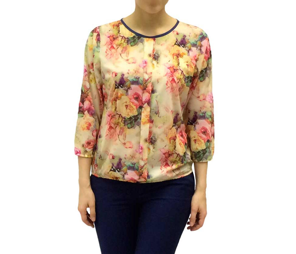 Нарядная блузка с цветочным рисунком светло-желтая 100109