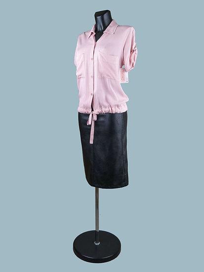 Летняя короткая блузка с коротким рукавом розовая