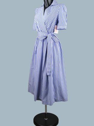 Платье  в синюю полоску с запахом 1939