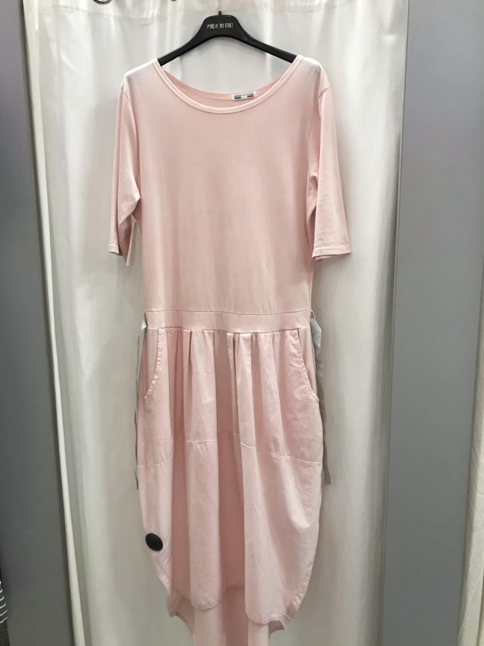 Трикотажное платье с юбкой баллон розовое 11151110