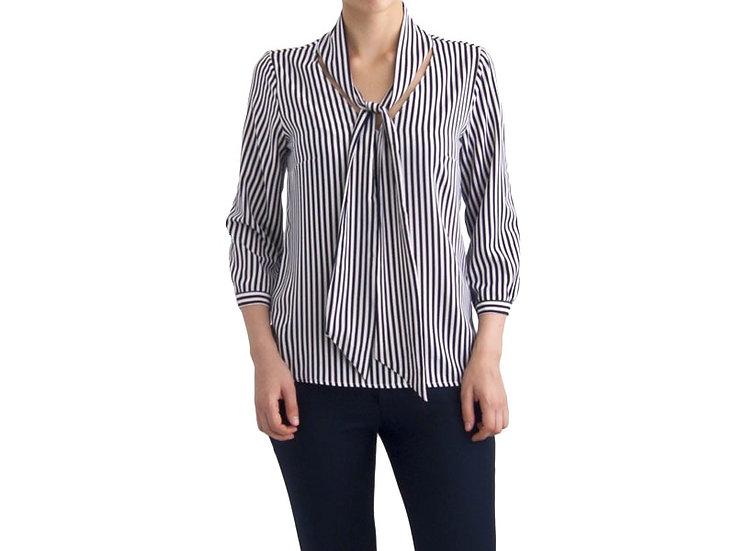 Нарядная блузка в полоску c воротником бантом 126901-2