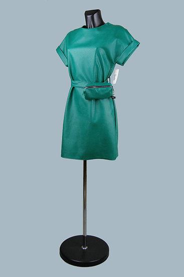 Кожаное коралловое платье- купить в магазине Chichi  Королев Гелиос