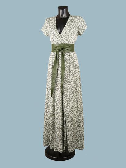 Легкое летнее длинное платье с цветочным принтом зеленое | chichi
