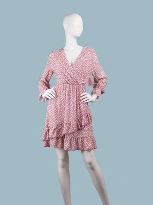 Платье  шифоновое  с запахом розовое в горох