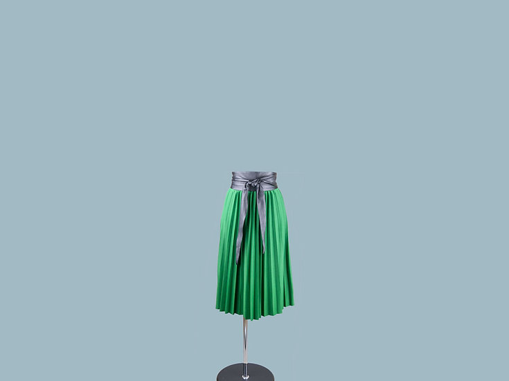 Юбка плиссированная  зелёная  24000710