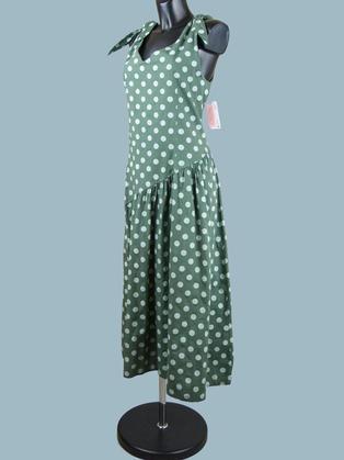 Платье летнее зеленое в горох 2358