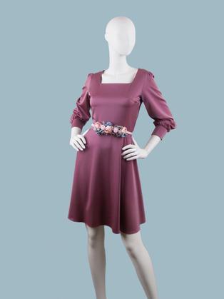 Платье  брусничное 260219
