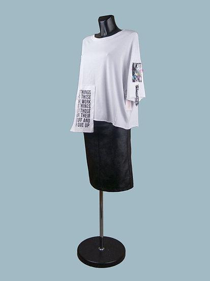 Белая свободная футболка с асимметричным низом | chichi