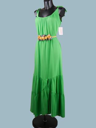 Нарядное длинное платье- сарафан зеленое