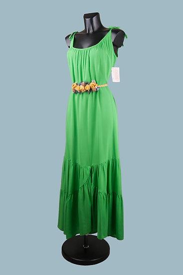 Длинное зеленоеплатье с ассиметричной юбкой. Польша. Размер: 48-52