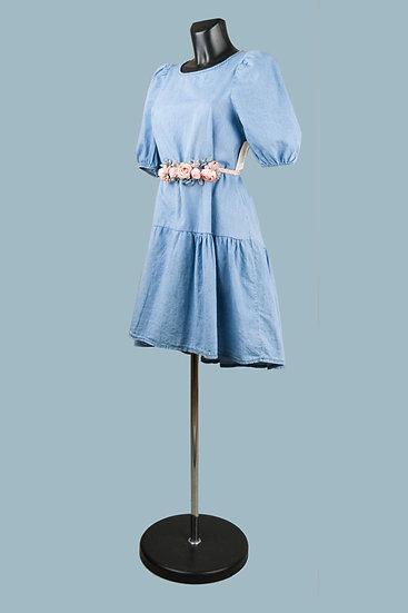 Нарядное свободное светло джинсовое платье. Италия. Размер: 42-48
