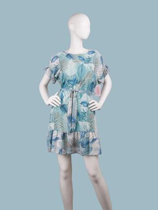 Платье  шифоновое мини с тропическим рисунком голубое