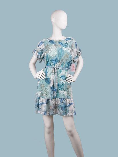 Шифоновое платье мини с тропическим рисунком голубое.Италия. Размер: 42-48