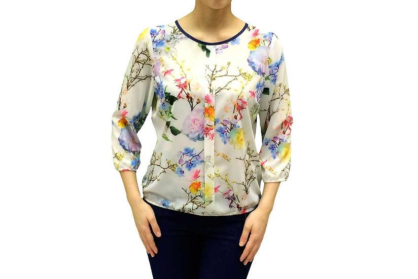 Нарядная  блуза  с цветочным рисунком 100101