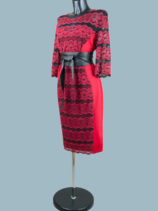 Вечернее платье с кружевом красное 9661