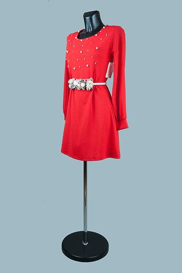 Красное шифоновое платье. Италия. Размер: 42-44