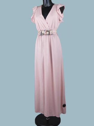 Длинное платье розовое