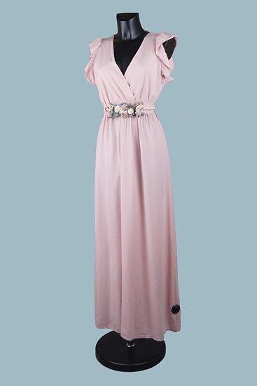 Летнее длинное нарядное платье розовое. Размер: 42-50. Италия. 100% лиоцелл